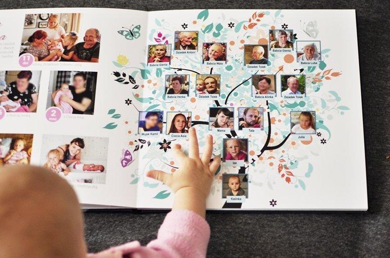 drzewo genealogiczne rodziny dziecka, album dziecka, fotoalbum pierwszego roku